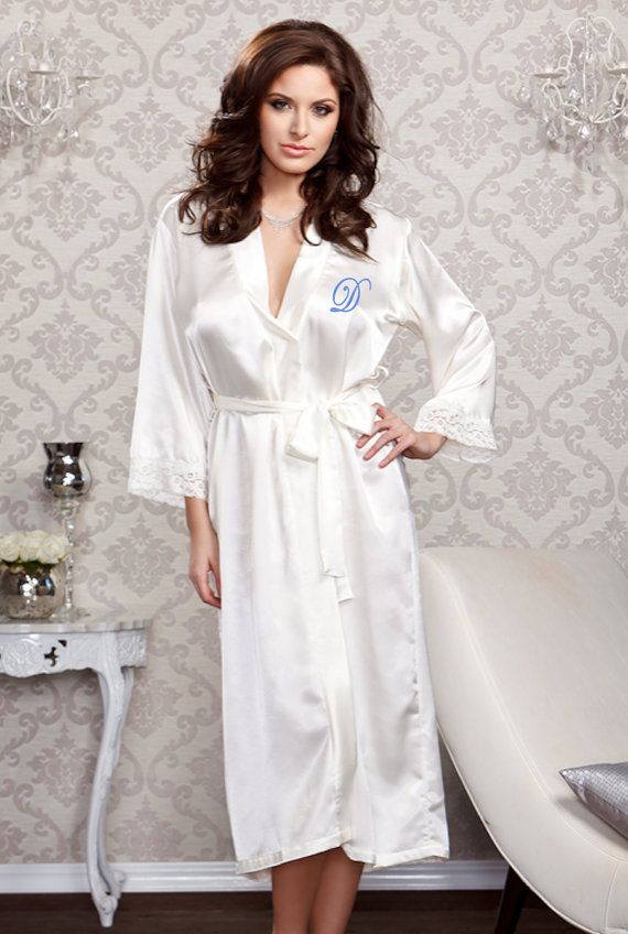 Long Satin And Lace Trimmed Robe Robes For Women Sexy