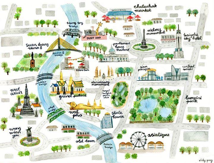 Map of Bangkok by Vicky Yang … | illustration-map | Thail…