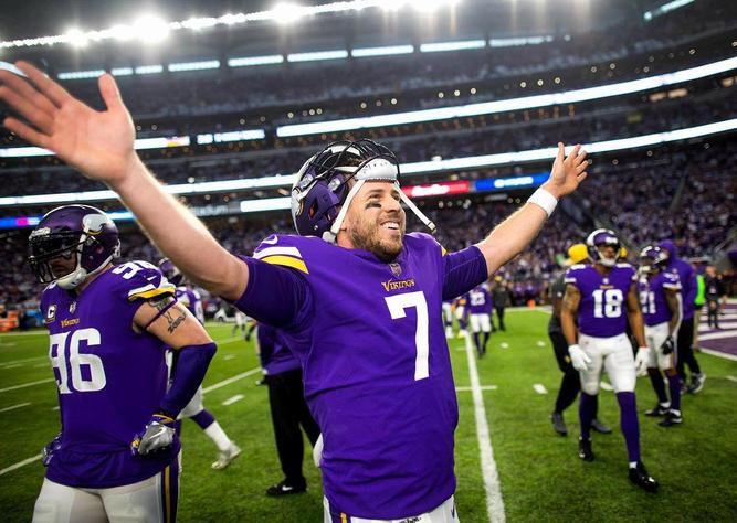 Minnesota Vikings QB Case Keenum. 1/14/18 after the Vikings beat the Saints.