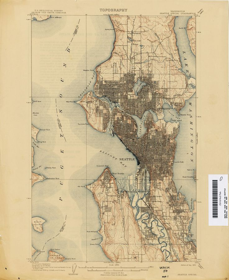 1908 Seattle topo map The 4902 best