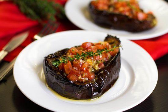 paleo baked eggplant recipe  @Teresa Lickliter--- using eggplants and compari tomatoes both from costco! delish! I used both thyme & fresh basil