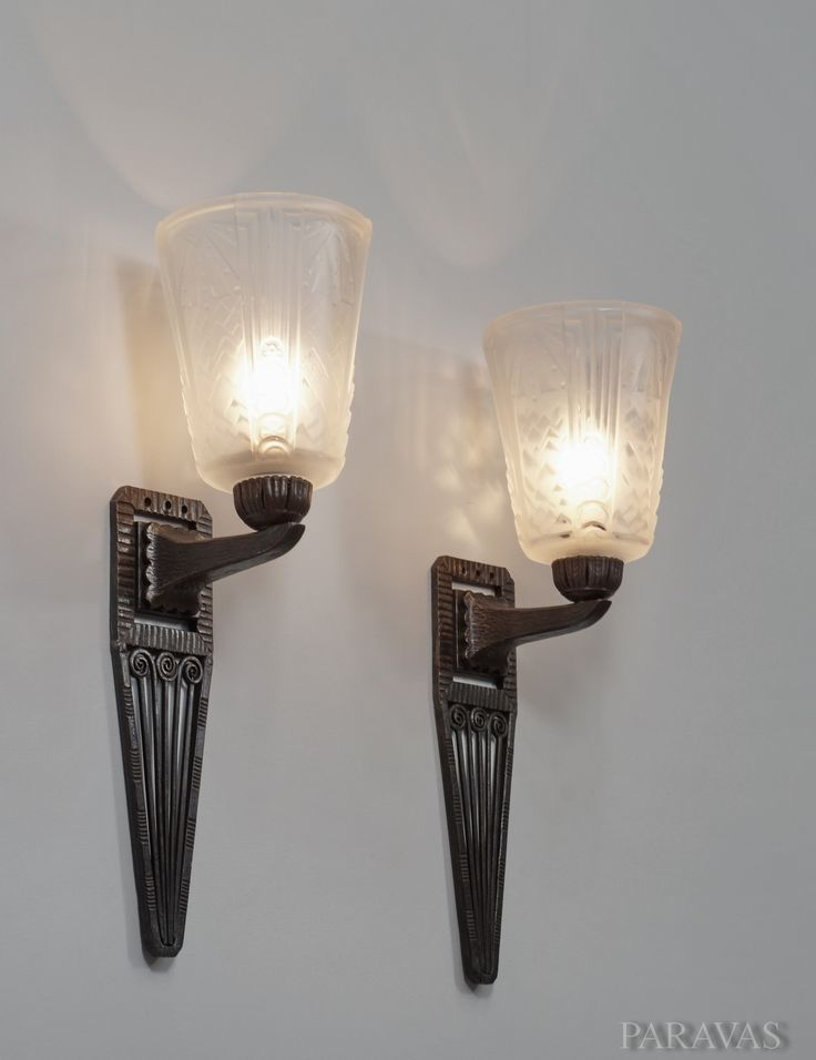 Exceptional MULLER FRERES : A Superb Pair Of Wrought Iron French Art Deco Wall Sconces  Holding Shades