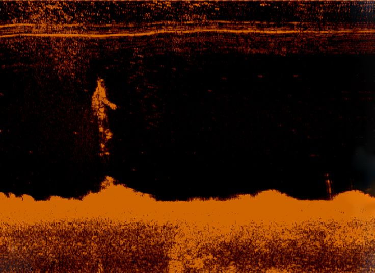 "Echogram ""Descending 1""Anders Kumlien @kumlien.se  #sidescan sonar, lowrance lss-1, simrad, echoe, echogram, sonogram, red, underwater, art, bottom formations, figures, sheetmetal, descending"