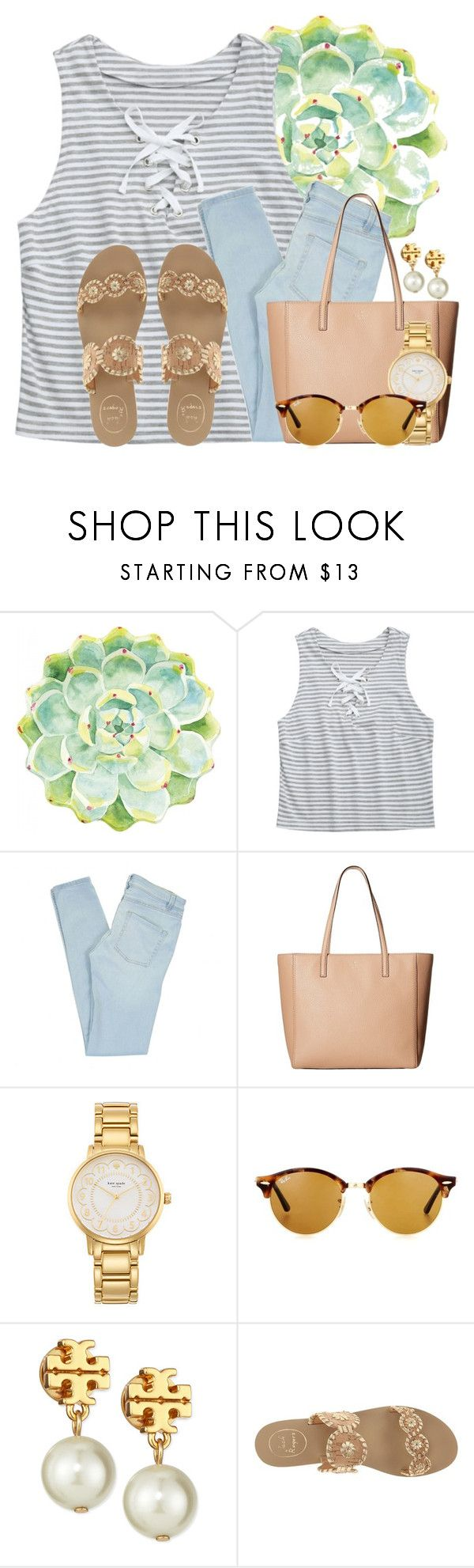 """""""Heading to the airport"""" by flroasburn ❤ liked on Polyvore featuring Merritt, Marc by Marc Jacobs, Kate Spade, Ray-Ban, Tory Burch and Jack Rogers"""