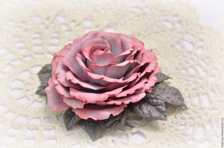 """Купить Заколка для волос """"Роза винтаж"""" - коралловый, пыльная роза, роза в волосы, заколка для волос"""
