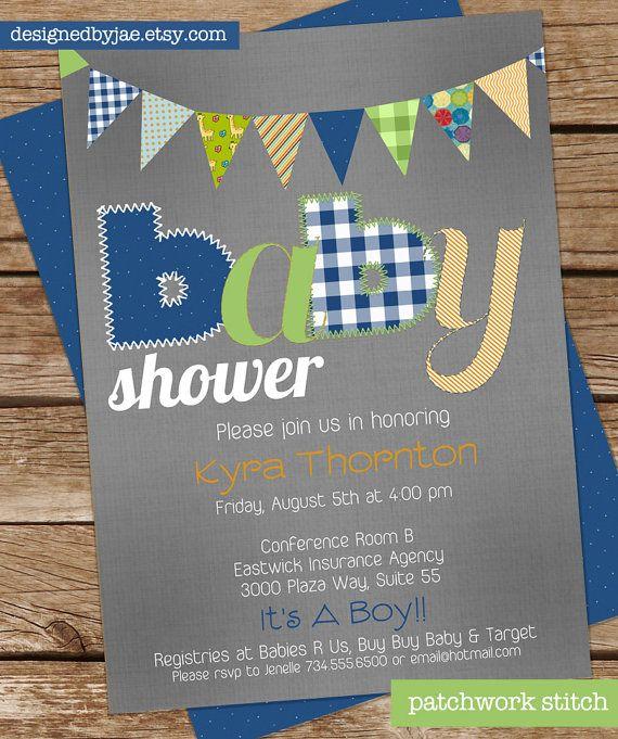 Baby Boy Shower Invitation - Patchwork Stitch - Baby Announcemen t- Vintage Pennants, blue green orange grey gray (digital diy printable)