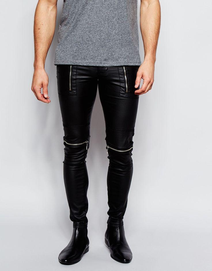 Image 1 ofASOS Extreme Super Skinny Jeans With Biker Details