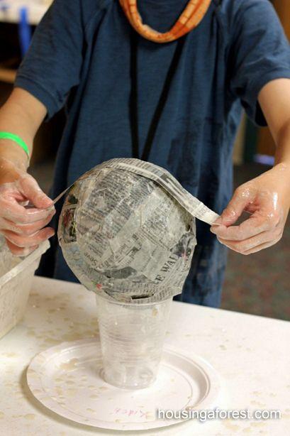 Paper Mache Light-Up Globes - Simple no cook paste recipe