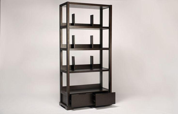 Biblioth que bois noir espace maison d co de salon for Bibliotheque decoration de maison