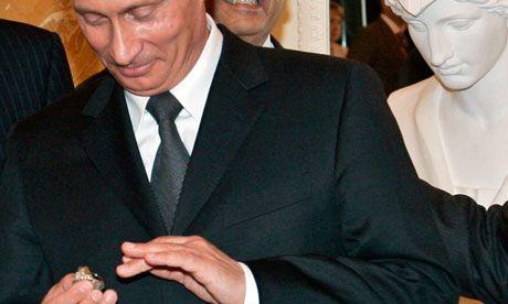 June 2013. Vladimir Putin 'stole' a diamond-encrusted Patriots ring off owner Robert Kraft