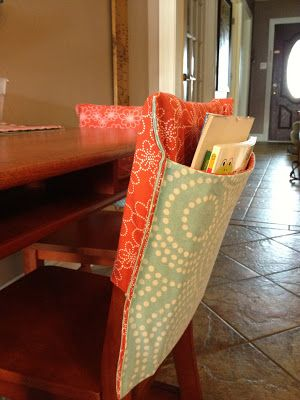 Chair pockets... Make these for your kids to hold all their books, art supplies,etc.... Easy to make ina few hours