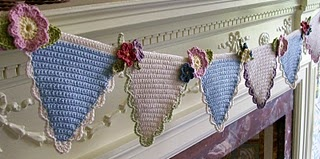 The loveliest crochet bunting I've ever seen!- would love this in patriotic colors on the porch!