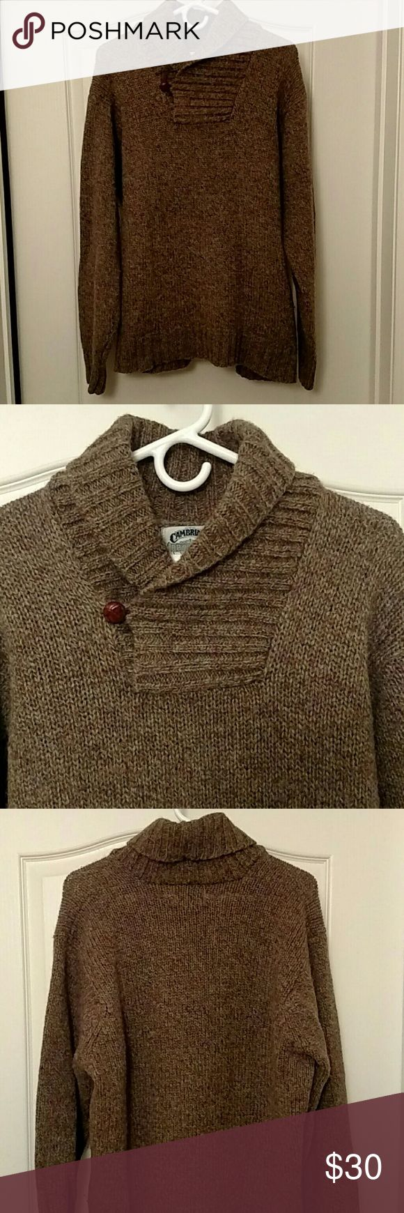 Cambridge Dry Goods Company Men's Wool Sweater This is a men's 100% wool sweater by Cambridge Dry Goods Company! The sweater has a unique folded collar that has one button to fasten it. It is in EXCELLENT CONDITION! A great look for YOU! Cambridge Dry Goods Company Sweaters