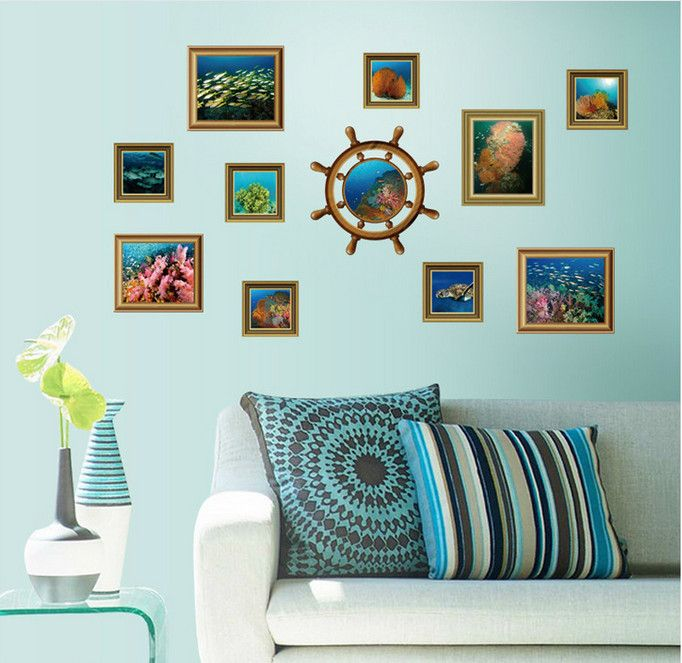 >> Click to Buy << Mediterranean Ocean World Photo Marine Light castle Fish Sea Gull Wall Sticker Home Decor Wall Decals for Kids Room bedroom #Affiliate