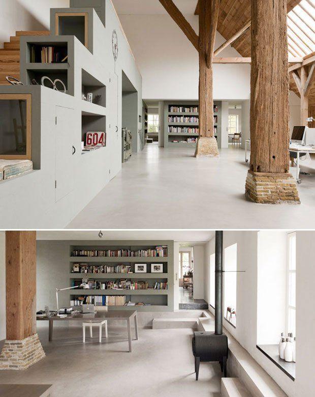Ina & Matt | Dutch Design Studio. | mooie combi van betonvloer, diepe vensters en prachtige kleur boekenkastenwand!!