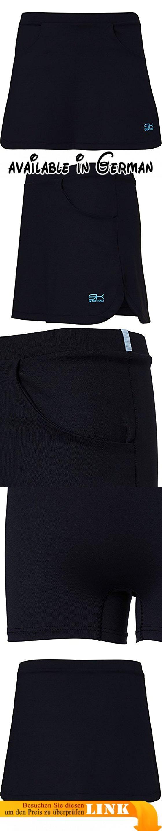 Sportkind Mädchen & Damen Tennis / Hockey / Golf Classic Rock mit Taschen & Innenhose, schwarz, Gr. S. Elastischer Taillenbund, integrierte Shorts, tiefe, seitliche Taschen für Links- und Rechtshänder, Rocklänge 36 cm / Größe M. Atmungsaktives, schnell trocknendes, UV-Strahlen abweisendes (UPF 50+) Stretchmaterial. Material: 91% Polyamid, 9% Elasthan (Lycra®) // Maschinenwäsche 40°C. Farben: Schwarz, Grau, Weiss, Rot, Pink, Grün, Navy Blau. Grössen: 110, 116, 122,