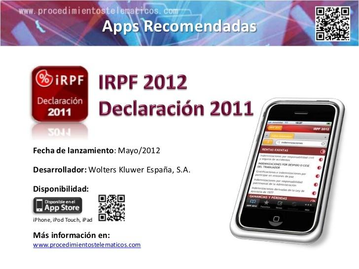 """Wolters Kluwer lanza una App con el libro """"IRPF 2012 Declaración 2011″ via Slideshare"""