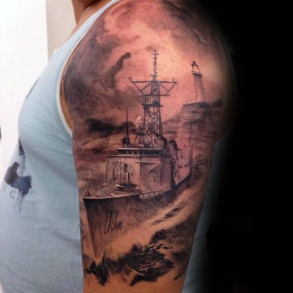 Gentleman With Half Sleeve 3d Battleship Tattoo