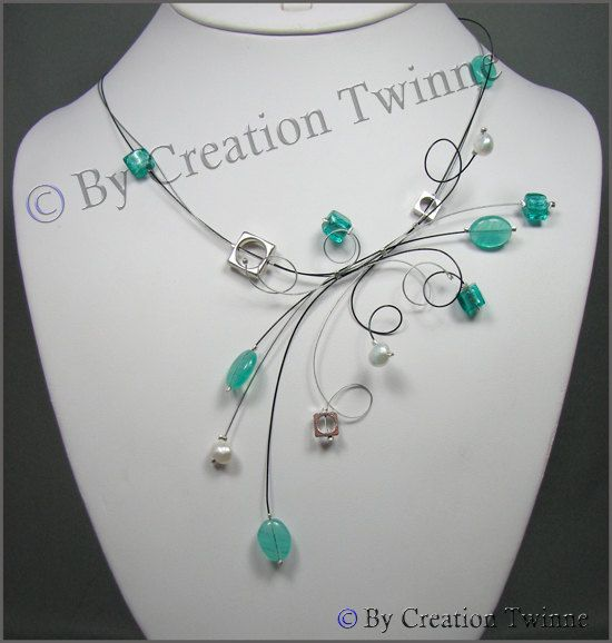 turquoise, white, necklace, fantasy necklace, bridesmaids necklace,  swirl necklace, funky jewelry, wedding necklace, bridesmaids gift. $47.00, via Etsy.