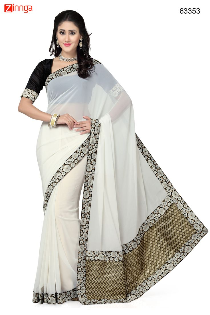 Off White Saree With Nice-looking Fancy Pallu. Message/call/WhatsApp at +91-9246261661 or Visit www.zinnga.com