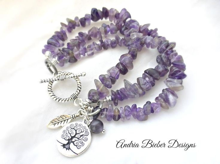 Amethyst purple stone, silver beads and silver metal jewelry.
