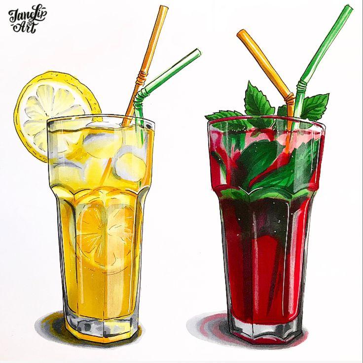 рисунок лимонада акварелью работе