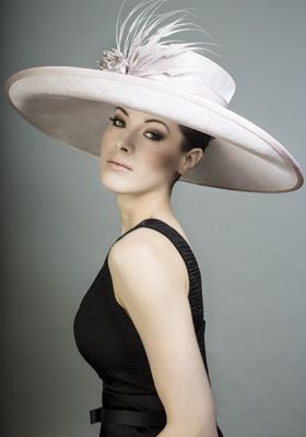 Rachel Trevor-Morgan Millinery - Pink straw sidesweep picture hat feather claws and silk flower. #passion4hats