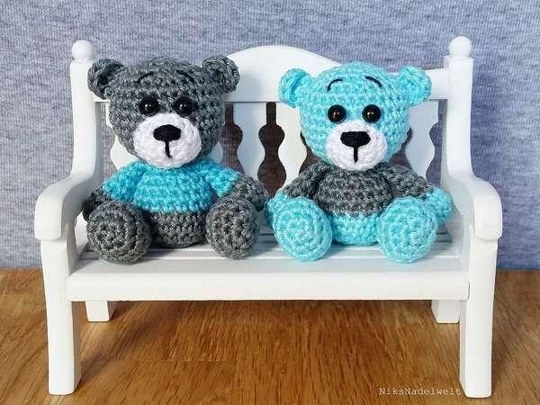 Jetzt einen Teddy / Bären als Mini-Tier häkeln. Super zum Mitnehmen, als Tröster, Glücksbringer und guter Gefährte. Probiers gleich aus mit dem Häkeln.