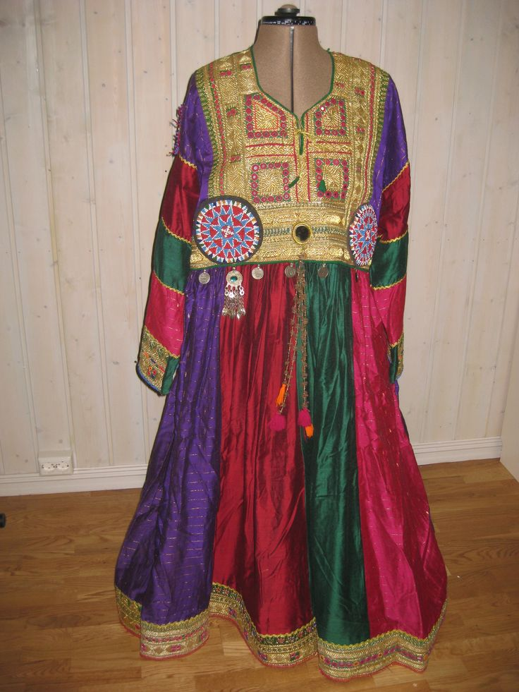 Pashtun dress with gold embroidery.