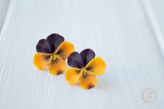 Oscuros pensamientos de naranja amarillo morado beso-me-quick stud Pendientes hipoalergénicos Espárragos pequeños earstuds oído mujeres accesorios regalos hechos a mano