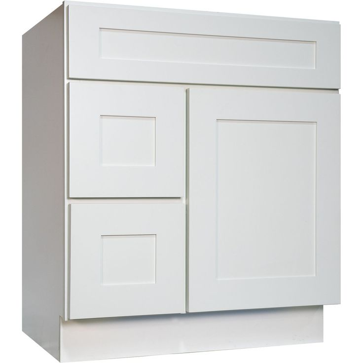 """30 Inch Bathroom Vanity Single Sink Cabinet in Shaker White with Soft Close Drawers & Door 30"""" (Doors Right)"""