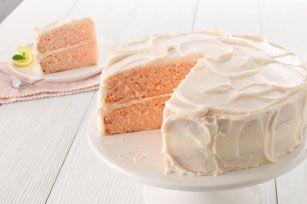 Pink Lemonade Layer Cake Recipe - Kraft Recipes -- Using GF white cake mix!