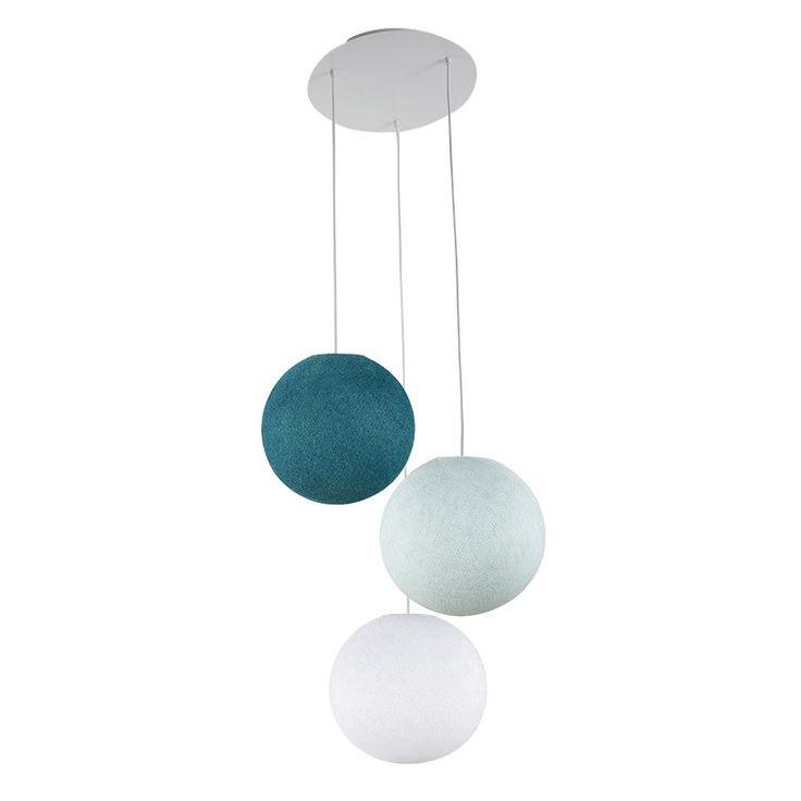 Plafonnier 3 globes S Blanc – Azur – Bleu canard