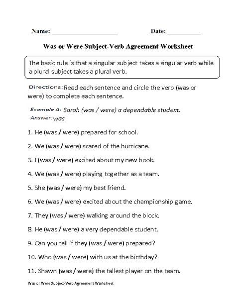 Was Or Were Subject Verb Agreement Worksheet Subject Verb