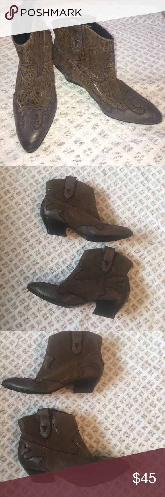 "Isola Leather Cowboy Booties Gorgeous Isola booties- great used condition!  Heel height is approximately 2"".  Cushy interior for extra comfort.  Supersoft leather outer.  Rubber embossed sole for traction. Hard to capture in pictures just how beautiful these are!  Brown with purple accenting. Isola Shoes Ankle Boots & Booties"