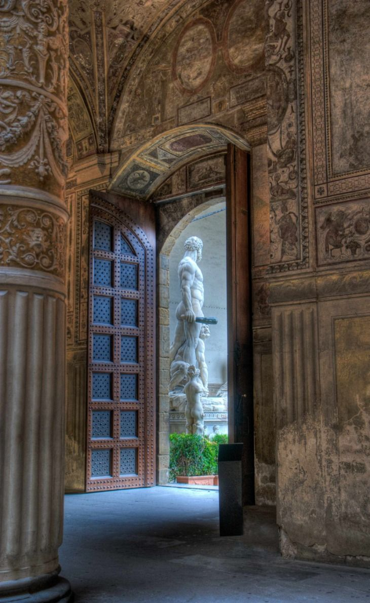 Inside the Palazzo Vecchio in Florence, Italy. Looking out at the copy of Michelangelo's David.