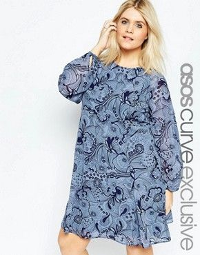 ASOS CURVE Babydoll Dress In Blue Wallpaper Print