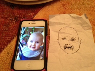 Nora's drawing of Nomi. NAILED IT.