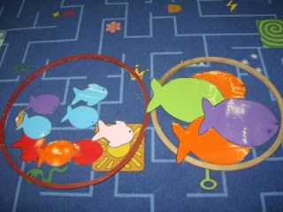 Dierendag - grote en kleine vissen sorteren in een bokaal