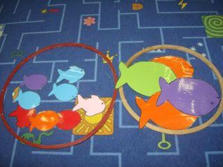 grote en kleine vissen sorteren in een bokaal