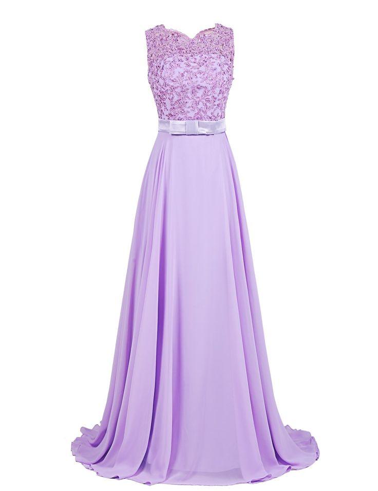 Dressystar Damen Chiffon Spitze Lang Formell Abendkleider Brautjungfernkleider Rosa in Größe 36
