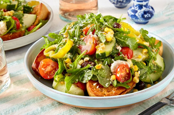 Charm Tomato, Corn, & Arugula Salad with Pickled Cubanelle Pepper & Garlic Toasts