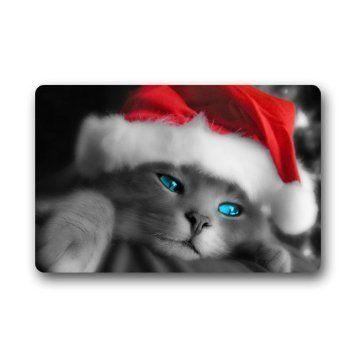 Custom Christmas Cat Welcome Custom Outdoor  Indoor Doormat MachineWahable Neoprene Rubber Doormat 236x157 Inch Decor Rug *** Visit the image link more details.