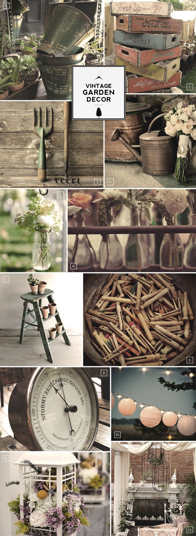 Ideas for Vintage Garden Decor and Outdoor Accessories. DONT want it to look country, shabby chic, want it to have more of an elegant, formal look