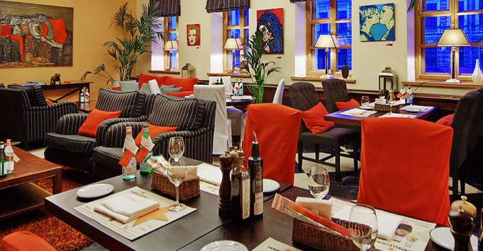 Solo Sokos Hotel Vasilievsky, St Petersburg, Russia. Restaurant premises. Situated in the historical centre of St. Petersburg, on the 8th Line of the Vasilievsky Island, close to the Embankment of river Neva.