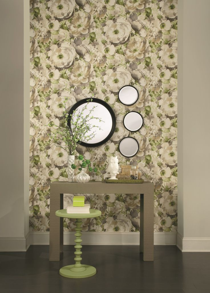 A bold oversized floral watercolour inspired wallpaper in taupe and green, from the Watercolours collection by Carey Lind Designs, WT4501 by York Wallcoverings. Available through Guthrie Bowron stores in New Zealand.