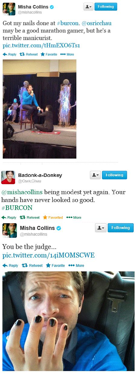 Misha Collins gets a manicure. If you look at the bottom picture of Misha and cover the bottom half of his face so that you can only see his eyes and forehead, he looks like Mike Rowe.