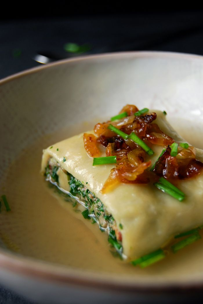 Maultaschen - Swabian Ravioli filled with Spinach, Beef and Parsley ° eat in my kitchen