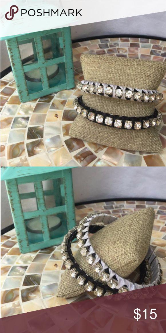 Set of Black & White rhinestone bracelets Black & White rhinestone stacking bracelets -set of two.   ✅I ship same or next day ✅Bundle for discount Jewelry Bracelets