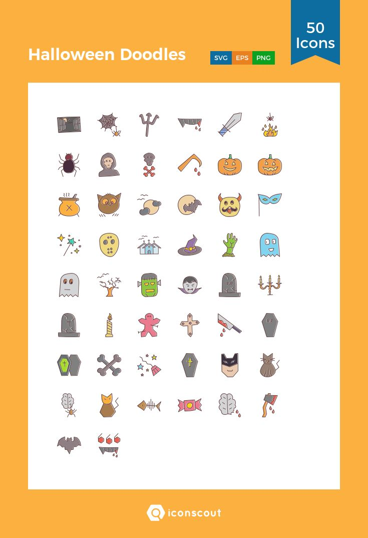Halloween Doodles  Icon Pack - 50 Handdrawn Icons
